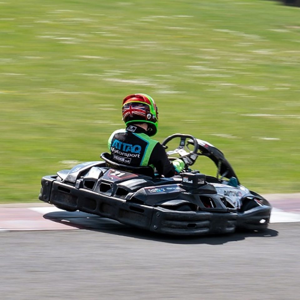 Sodikart RT8 go-kart at Daytona Milton Keynes outdoor go-kart venue