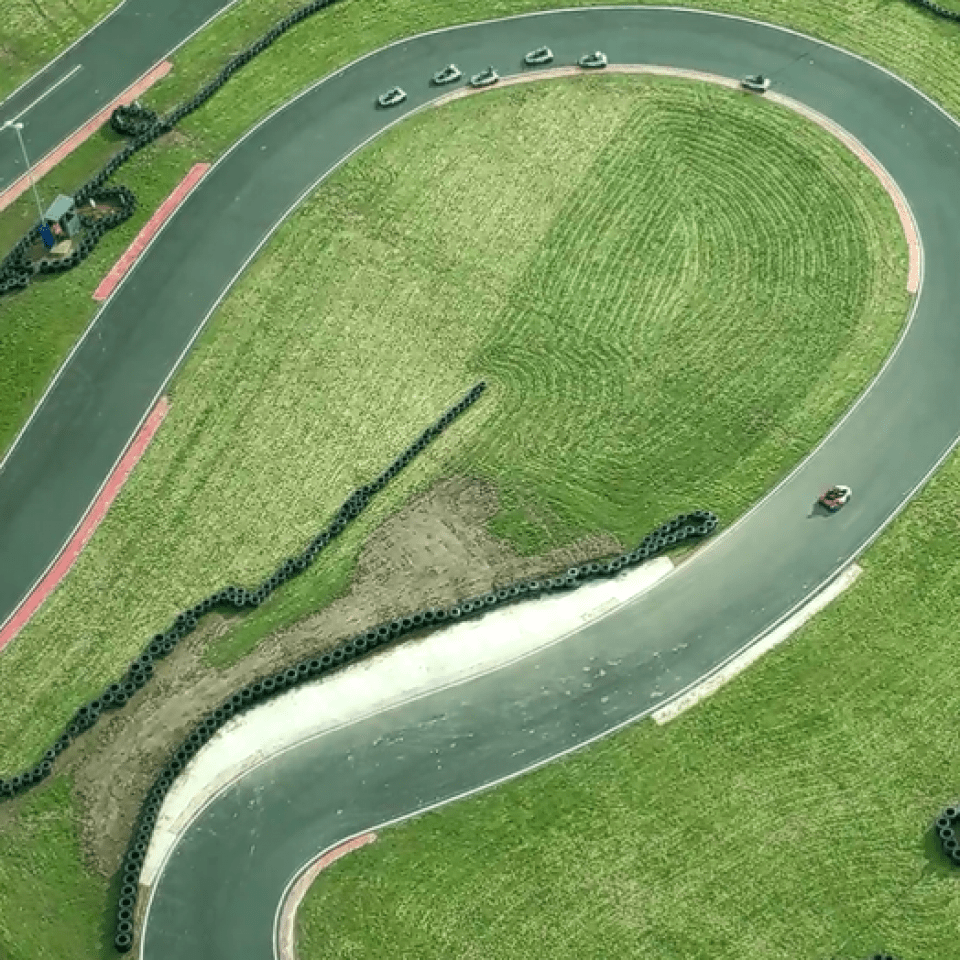 Aerial photo of beautiful outdoor go-karting venue near Birmingham