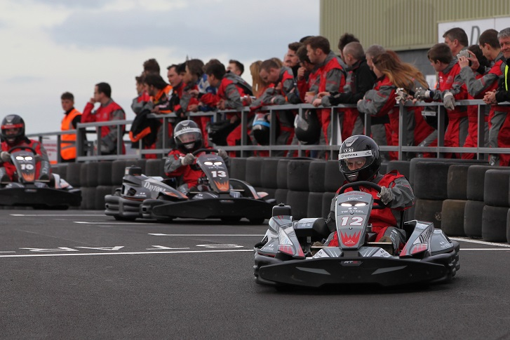An office party taking part in a go-kart race at Daytona Tamworth which is located just outside Birmingham